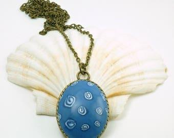 Blue necklace, cameo necklace, necklace boho, necklace shells, necklace summer