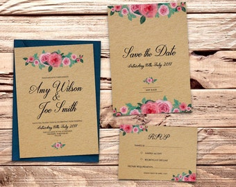 Pink Rose Printable Wedding Invitation Set