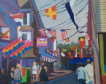 Coconuts (Provincetown) Original acrylic painting, 11x14 framed.