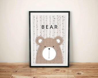 Childrens Woodland Bear Print-Woodland Bear Print-Woodland Bear Wall Art-Kids Woodland Bear-Childs Woodland Bear-Childrens Woodland Prints