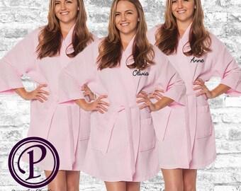 Set of 4 Pink Waffle Kimono Bridesmaid Robe, Monogrammed Robe, Embroidered Robe, Wedding Day Robe, Bridesmaid Gifts, Spa Robes