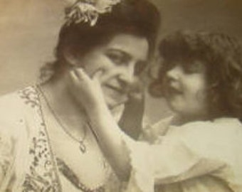 Vintage RPPC of Mother and Daughter