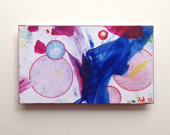 OOAK mini painting magnet, Red Spheres Cooperative Miniature