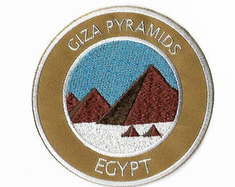 Giza Pyramids Egypt Patch Embroidered Iron or Sew on Badge Applique Trek Souvenir Great Pyramid Seven Wonders of the Ancient World