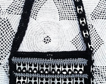 Black and Silver Pop Tab Shoulder Bag with Snap Closure: Up-cycled Style!