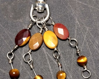 Mookaite & Tiger Eye Clip-on Amulet, EPSTEAM