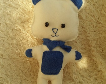 100% Cotton Handmade White and Dark Blue Bear Plushie