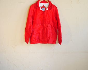 Vintage 80s Red Windbreaker Jacket with Zip Out Hood - Fully Lined with Pockets - Current Seen - Men's Medium