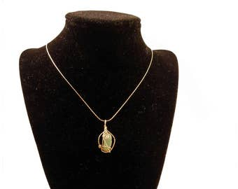 Dainty Jade Wire Wrapped Necklace