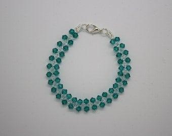 Green and clear Swarovski crystal bracelet