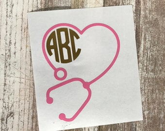 Stethoscope Monogram Decal
