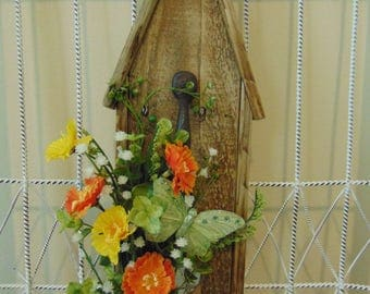 Rustic Wood Birdhouse Floral