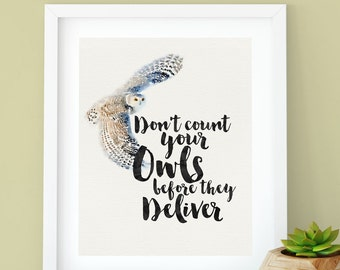 Harry Potter Hedwig Owl, Watercolor and Calligraphy Print, Don't Count Your Owls Before The Deliver, Digital Print, Instant Download, Decor