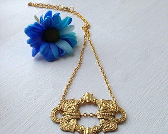 Small Statement Necklace • Unique Statement Gold Necklace • Gold Frame Statement Necklace • Statement Gold Pendant • Statement Gold Necklace