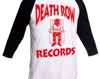Death Row Records Shirt 2pac Shirt Death Row Tee Snoop Dogg Death Row Records 3/4 Sleeve Raglan Suge Knight Merch Vintage Hip Hop Shirt