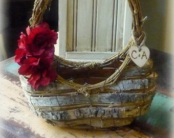 Flower Girl Basket Birch Bark Rustic Woodland Wedding Personalized YOUR CHOICE of FLoWeR