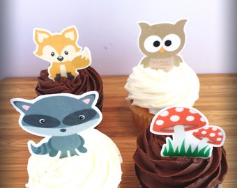 Woodland (Edible) Cupcake Toppers,Woodland Theme, Woodland Decor, Woodland Baby Shower, Woodland First Birthday,Woodland Cupcake Toppers