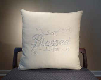 Blessed Embroidered Pillows, Modern Blessed Decor, Rustic Blessed Pillow Cover, Blessed Cushions, Word Pillows, Pillow with Sayings