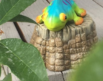 Outdoor Decor, Yard Art, Small Ceramic Chameleon