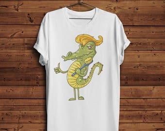 Crazy Crocodile T Shirt Tee | Animated Animals ZOO Like Toothbrushes Hairdo Funny |  (Men & Women T shirts)