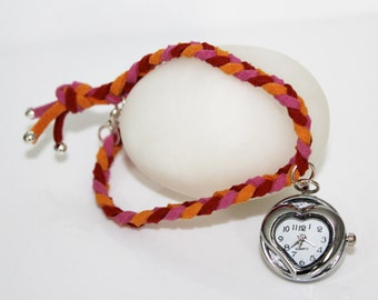 Suede braided bracelet watch