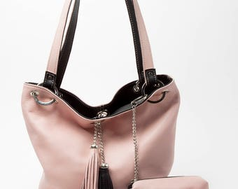 Reversible leather bag, Reversible purse, reversible handbag, pink handbag, pink and black bag, reversible tote, pink leather tote