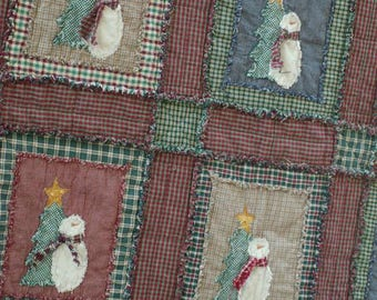 Shabby Snowman Rag Quilt Kit with Pattern