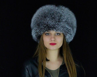 Blue Frost Fox Fur Hat