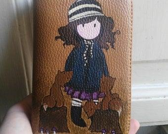 Hand painted ladies wallet Brown