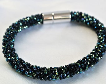 Crochet bracelet black green iridescent