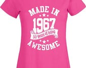 50th Birthday Gift T Shrit Made In 1967 tshirt Born Age Present Vintage Gift Women Ladies Top