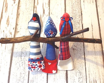 Three Birdie Recycled Fabric Branch
