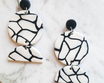 Black and White Pattern Three Tier Clay Earrings