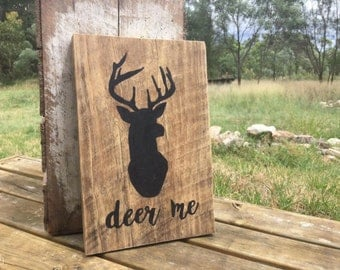 Woodland Creatures Recycled Timber Sign feat. Deer