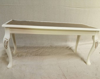 REDUCED    Vintage Wooden Coffee Table With Leather Top   REDUCED