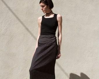Vintage Black PLEAT Slip Style Midi Skirt XS