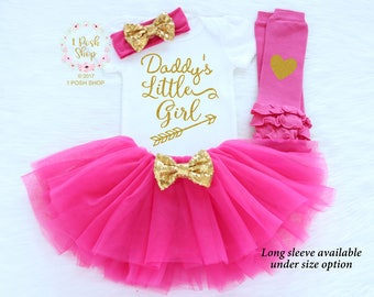 Baby Girl Outfit, Baby Fathers Day Outfit Girl, Daddys Little Girl, Baby Girl Fathers Day Outfit, Daddys Princess, My First Fathers Day FD16