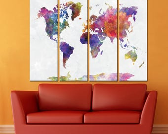Large Watercolor World Map Canvas Panels Set, Abstract World Map Print, / 1,2,3,4 or 5 Panels on Canvas Wall Art ready to hang