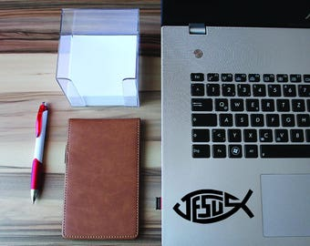 Jesus Christian Fish Sticker - Jesus Fish Symbol Decal - MacBook Sticker - Bumper Decal