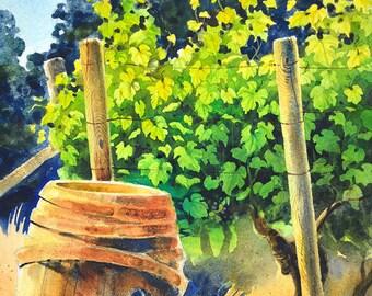 Landscape Vineyard Watercolor Painting - Art Print - Cooper Mountain Vineyards #1