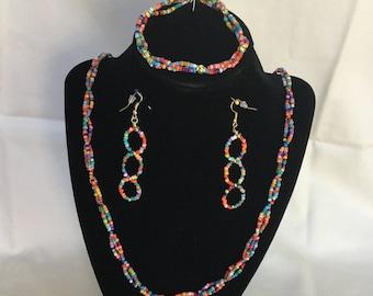 61: Necklace, Bracelet, Earrings Set