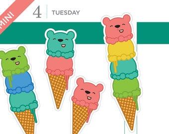 Ice cream cone bear stickers, planner stickers, bear stickers, ice cream stickers – 16 MINI size stickers