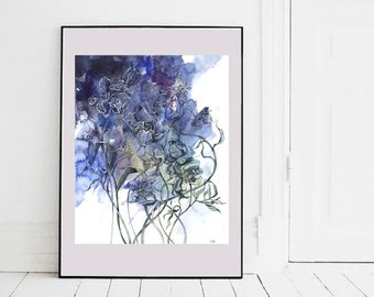 Original watercolor painting / Indigo mood / Watercolor flowers / Blue and purple wall art / Home decoration