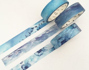 Seasons Color Washi Tape - Blue Scenery (1 pc / 3 pcs) Japanese Stationery Watercolor Masking Tape Set Deco Tape