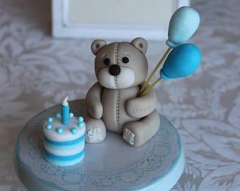 Edible Fondant Teddy with balloons & Birthday Cake, Cake topper
