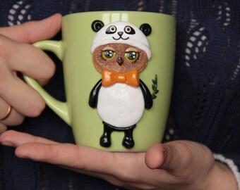 Ceramic mug, Owl mug, Polymer clay, hand made, bird mug, owl in a pandasuit, coffee mug, tea mug, mug for child, gift for girl, gift mug