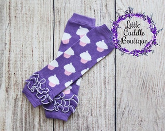 Cupcake Leg Warmers, Purple Leg Warmers, Cupcake Outfit, Photo Prop, Cupcake Birthday Outfit, Smash Outfit, Baby Shower Gift, Cupcake Party