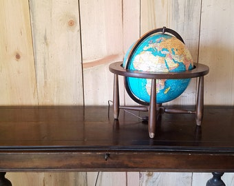 vintage Cram's Terrestrial world globe lamp | light up globe | mid century wood base globe | 12 inch