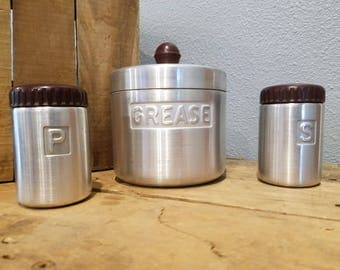 Vintage 1940's Turner Grease Canister | Salt and Pepper Shakers | Houston Texas, USA