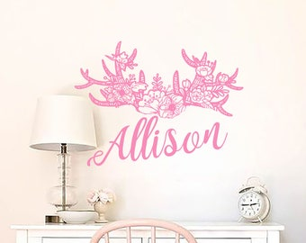 Girls Rustic Name Wall Decal Deer Horns Decals Nursery Antler Vinyl Decal Boho Style Home Decor